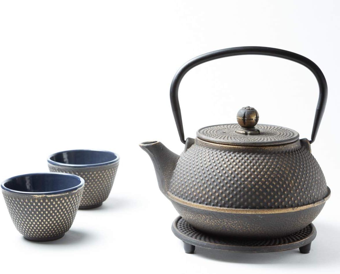 Tealøv Juego completo de tetera de hierro fundido con colador, Tazas de té y platillo - Juego de té de estilo japonés, hierro fundido, Oro 800 ml