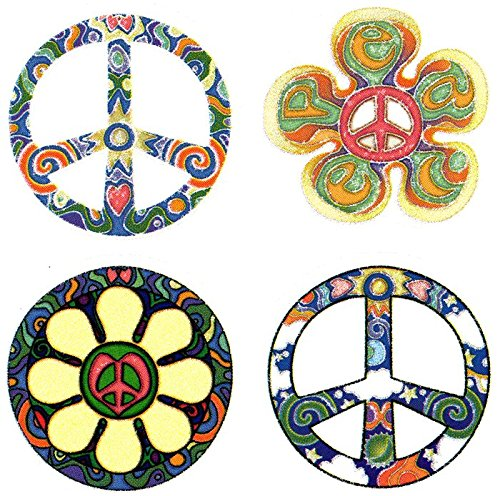 "Peace Window (4 Peace Sign Set – Hippie Window Sticker / Decal - Circular each 2.5"" Translucent)"