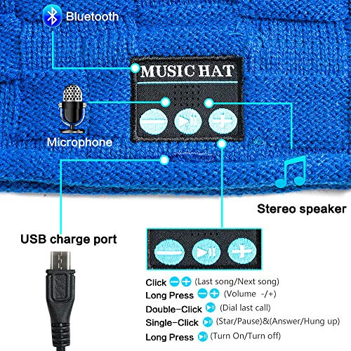 PASATO New Winter Unisex Bluetooth Wireless Smart Beanie Keep Warm Windproof Hat Handsfree Music Speaker (Blue,Free Size) by PASATO Hat (Image #3)