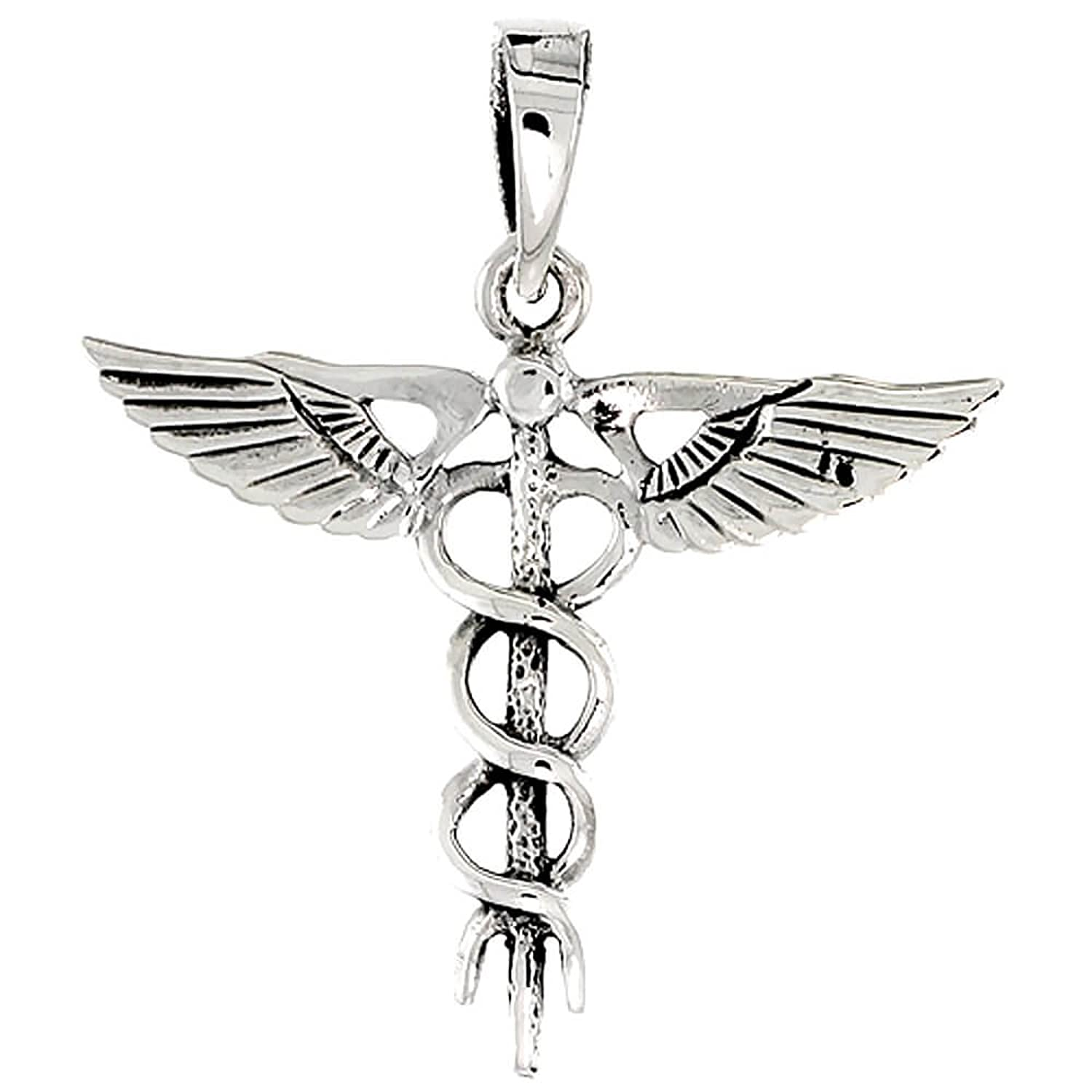Sterling silver caduceus medical symbol pendant amazon sterling silver caduceus medical symbol pendant amazon jewellery mozeypictures Image collections