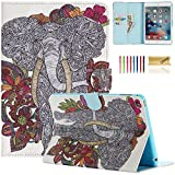 iPad Mini Case, Dteck(TM) Colorful Printed Synthetic Leather Flip Wallet Case with [Auto Wake/Sleep Function] for Apple iPad Mini 1 2 3 with Cleaning Cloth & Stylus Pen (01 Flower & Gray Elephant)