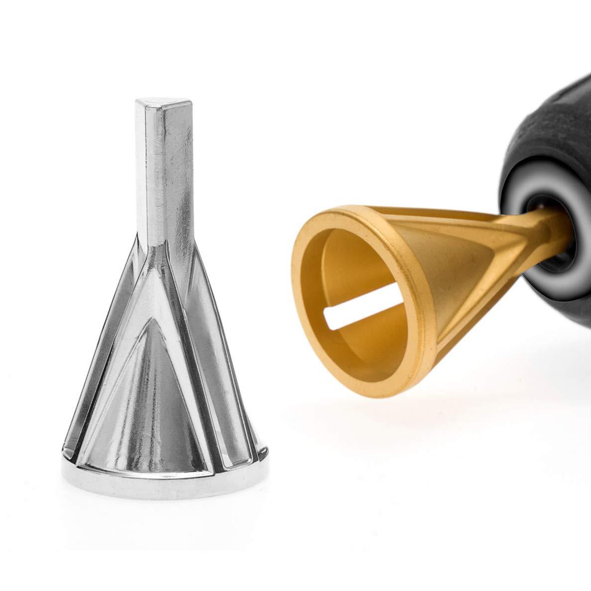 Sunxenze 2PCS Deburring External Chamfer Tool Triangle Shank Silver Remove Burr Repairs Tools for Bolts Hexagon Shank Gold