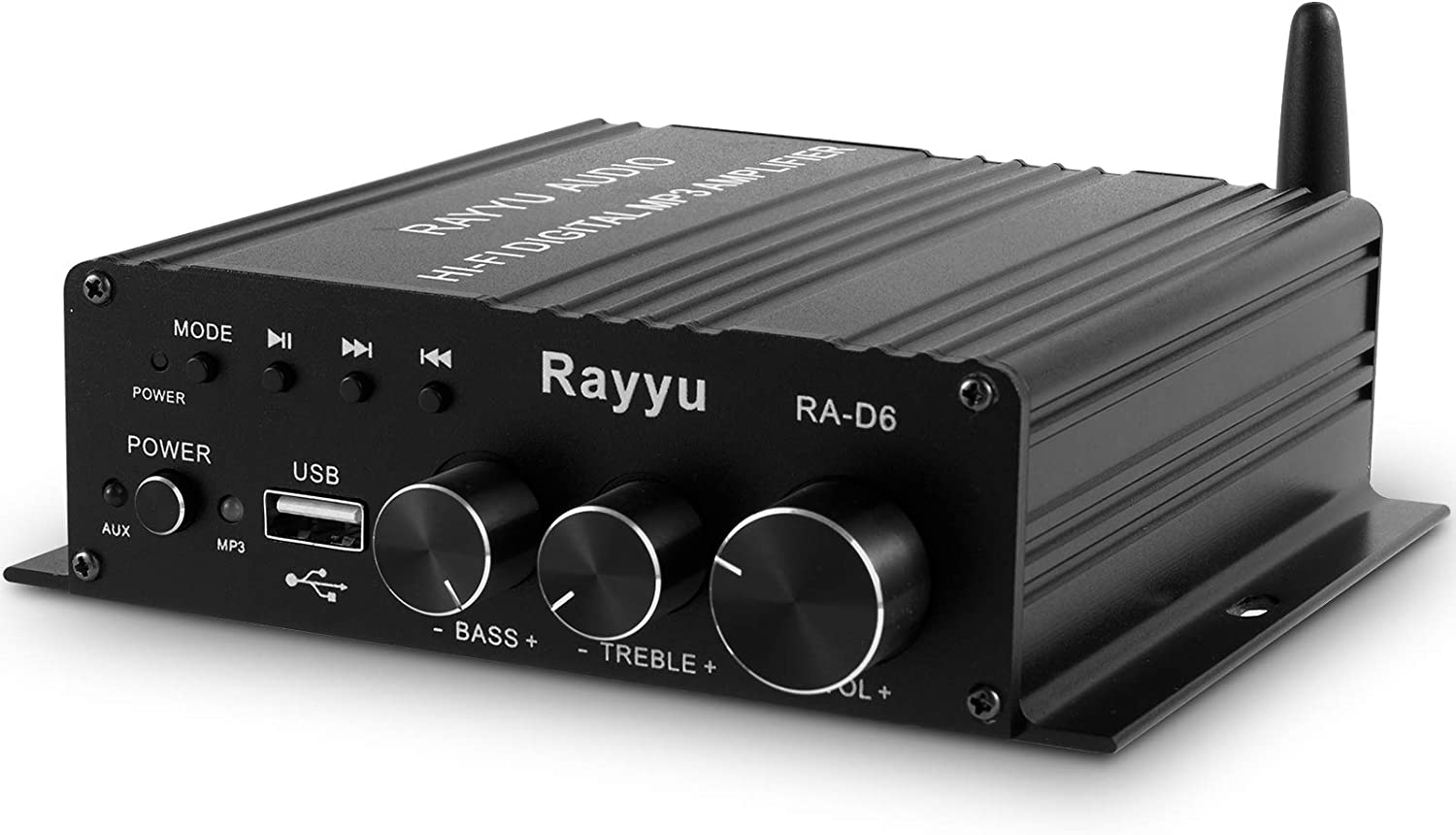 Rayyu Professional Mini Hi-Fi Digital MP3 Amplifier 2x50W Bluetooth 5.0 Power Amplifier Home Theater Stereo Audio USB Player Amp with Bass and Treble Control 2 Channel-Power Adapter Not Included RA-D6