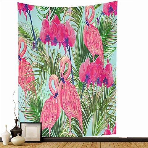 Ahawoso Wall Hanging Tapestry 50x60 Inch Texture Wedding Tropical Spring Flowers Bird Palm Pattern Leaves Orchid Popular Flower Swimwear Tapestries Home Decor Print for Living Room Bedroom Dorm (Upholstery Springs Palm)