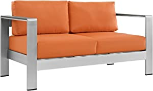 Modway Shore Aluminum Outdoor Patio Loveseat in Silver Orange
