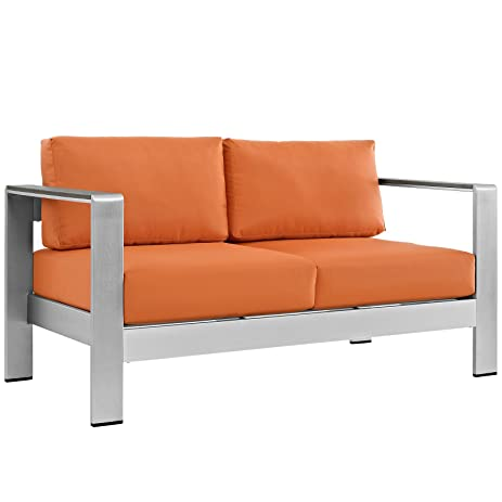 Modway Shore Outdoor Patio Aluminum Loveseat In Silver Orange