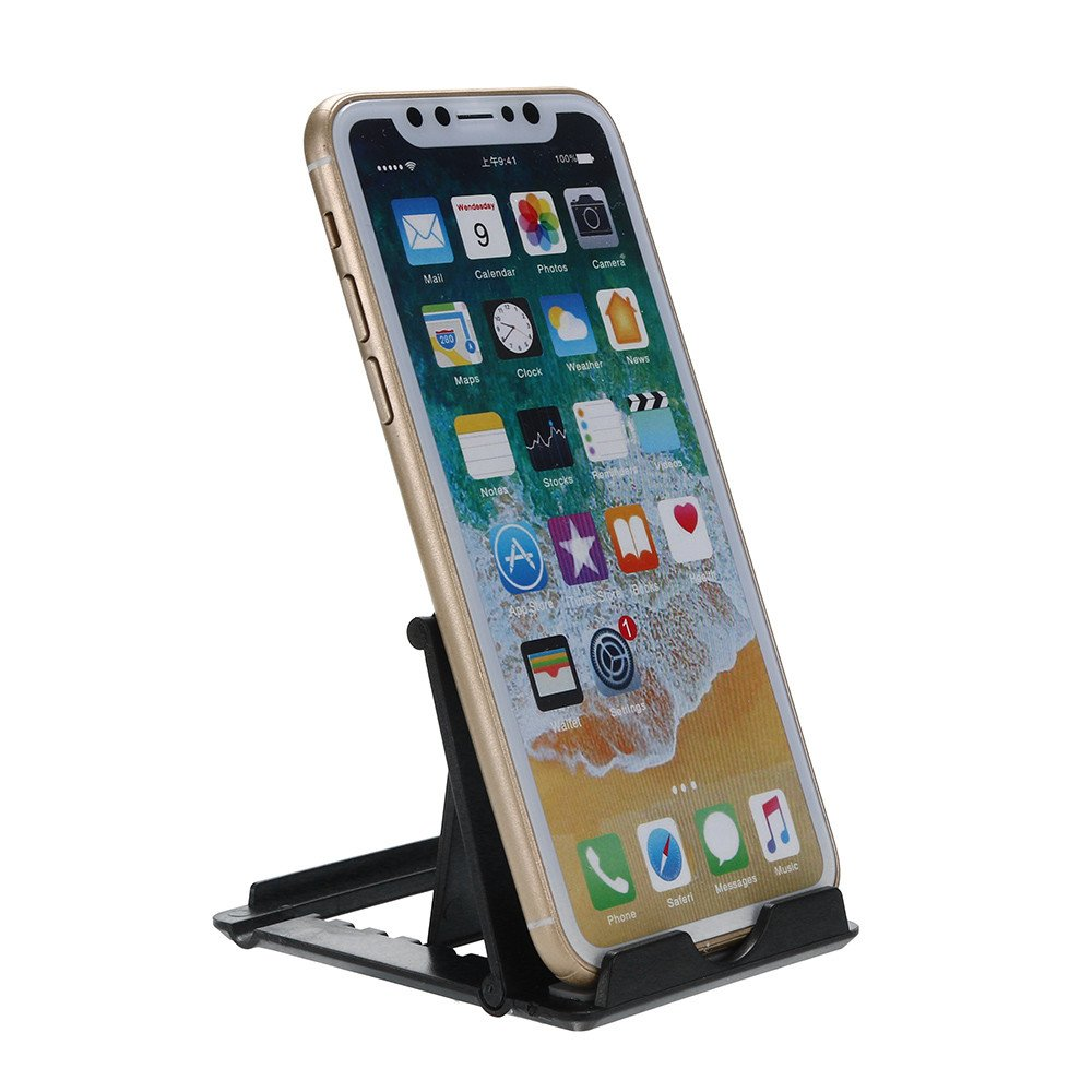 Tuscom Durable Adjustable Portable Foldable Universal Cell Phone Desk Table Desktop Stand Holder, 7X8X0.5cm Durable Practical Lightweight (Black) by Tuscom@ (Image #1)