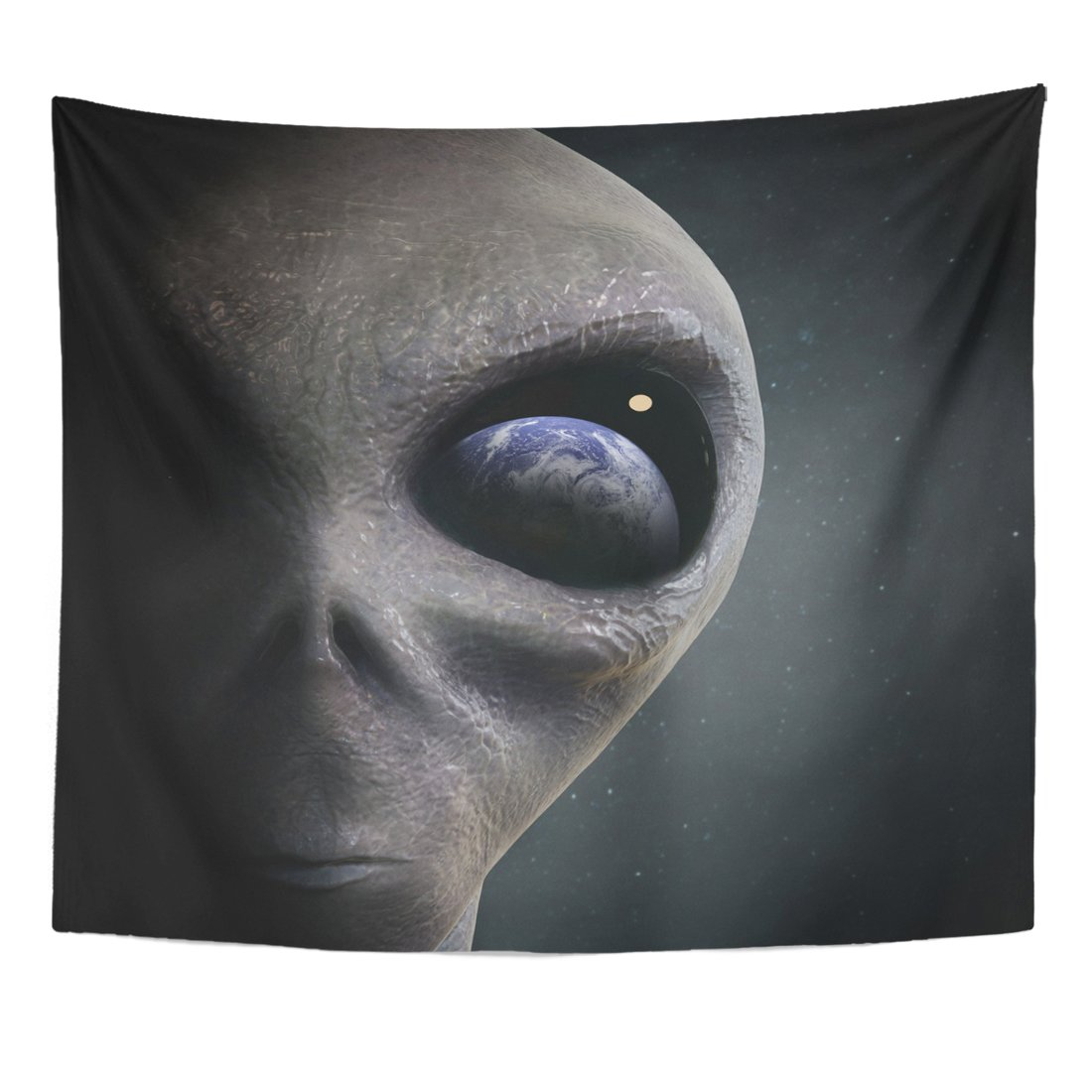 VaryHome Tapestry Blue Ufo Alien Looking at the Earth Gray Invasion Paranormal Home Decor Wall Hanging for Living Room Bedroom Dorm 50x60 Inches