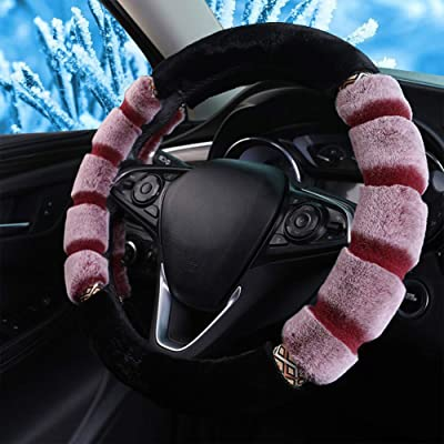 Fluffy Steering Wheel Cover for Winter Plush Warm Snug Universal Steering Wheel Cover for Women Men Fit Most of Car SUV (Red): Automotive
