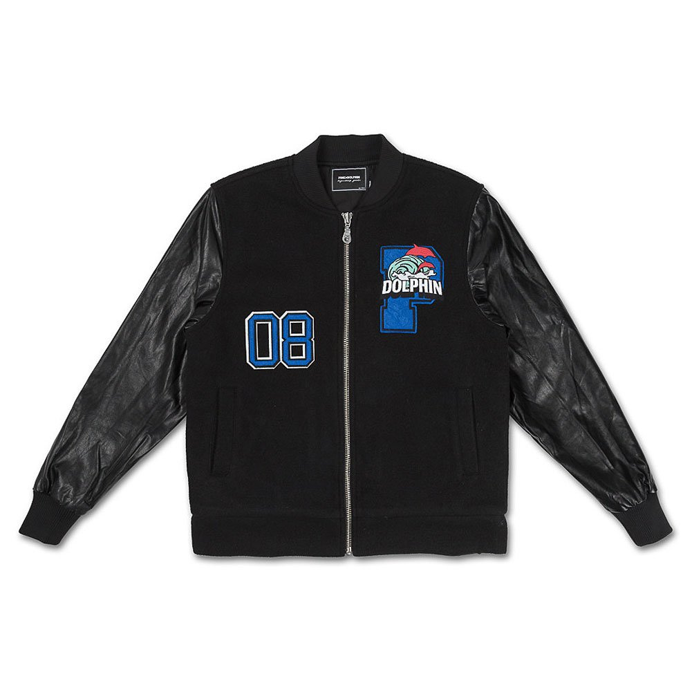 Pink Dolphin Men's Wave Crew Varsity Jacket Black 2XL by Pink Dolphin