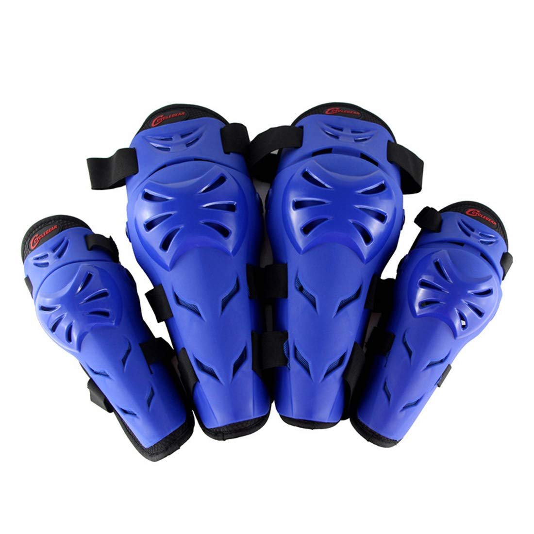 bluee ERSD Motorcycle Motocross Cycling Elbow And Knee Pads Predector Guard Armors Set for Riding Cycling Skating4pcs Support sport Professional Soft Multifunction Quality Work Out Safety (color   Red)