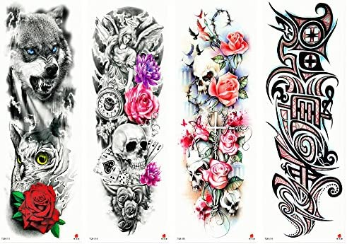 Amazoncom 4 Sheets Temporary Tattoo Wolf Dead Skull Flower