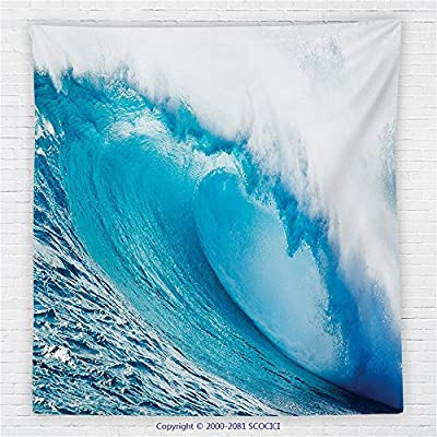 59 x 59 Inches Ocean Decor Fleece Throw Blanket Surfing Water Tube Appeares After Forceful Giant Wave Curls Itself on Sea Blanket