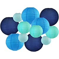 Just Artifacts Decorative Round Chinese Paper Lanterns 12pcs Assorted Sizes & Colors (Color Blues)