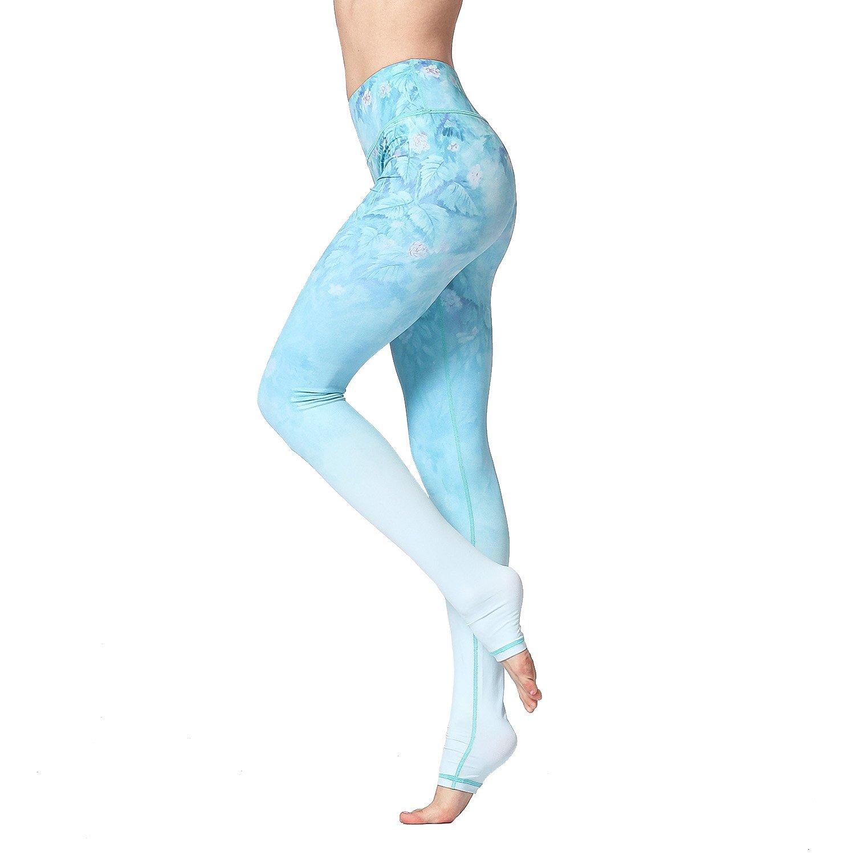 Hk02 bluee Witkey Printed Extra Long Women Yoga Leggings High Waist Tummy Control Over The Heel Yoga Pants