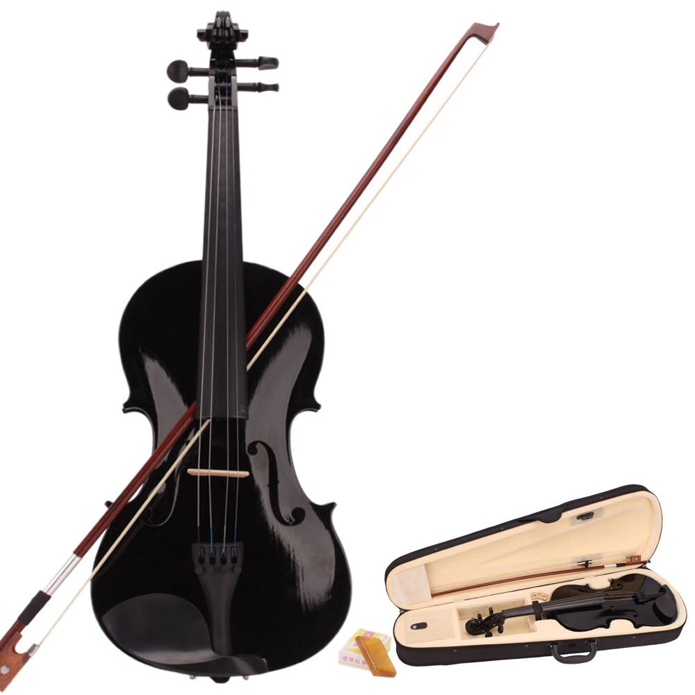 4/4 Full Size Acoustic Violin Fiddle with Case Bow Rosin Black for Beginner Z ZTDM
