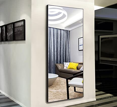 Amazon.com: H&A Thin Frame Rectangle Bedroom Floor Mirror, Wood ...