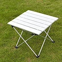 Folding Table Portable Picnic Table Desk for Outdoor BBQ Camping with Carrying Bag (Silver Large)