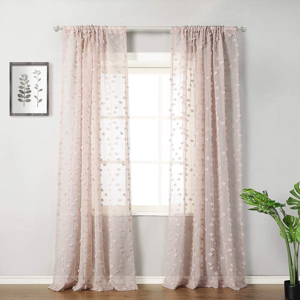 """MYSKY HOME Cute Pom Pom Sheer Curtains for Girls Room Rod Pocket Voile Sheer Curtains for Bedroom (2 Panels, 54"""" x 96"""", Dusty Pink)"""