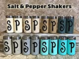 SALT and PEPPER SHAKER set of 2 with Stainless Steel Lids ~ Hand PAINTED & Distressed ~ Kitchen Table Decor ~ Gray Seafoam Teal Blue Green Cream Brown Tan ~ 3.75'' X 1.75'' S&P S & P Shakers