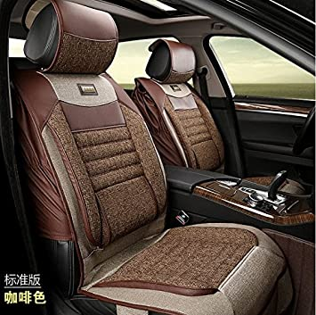ANKIV Full SET Brown PU Leather Linen Flax Fiber Car Seat Covers Universal Fit 5 Seats