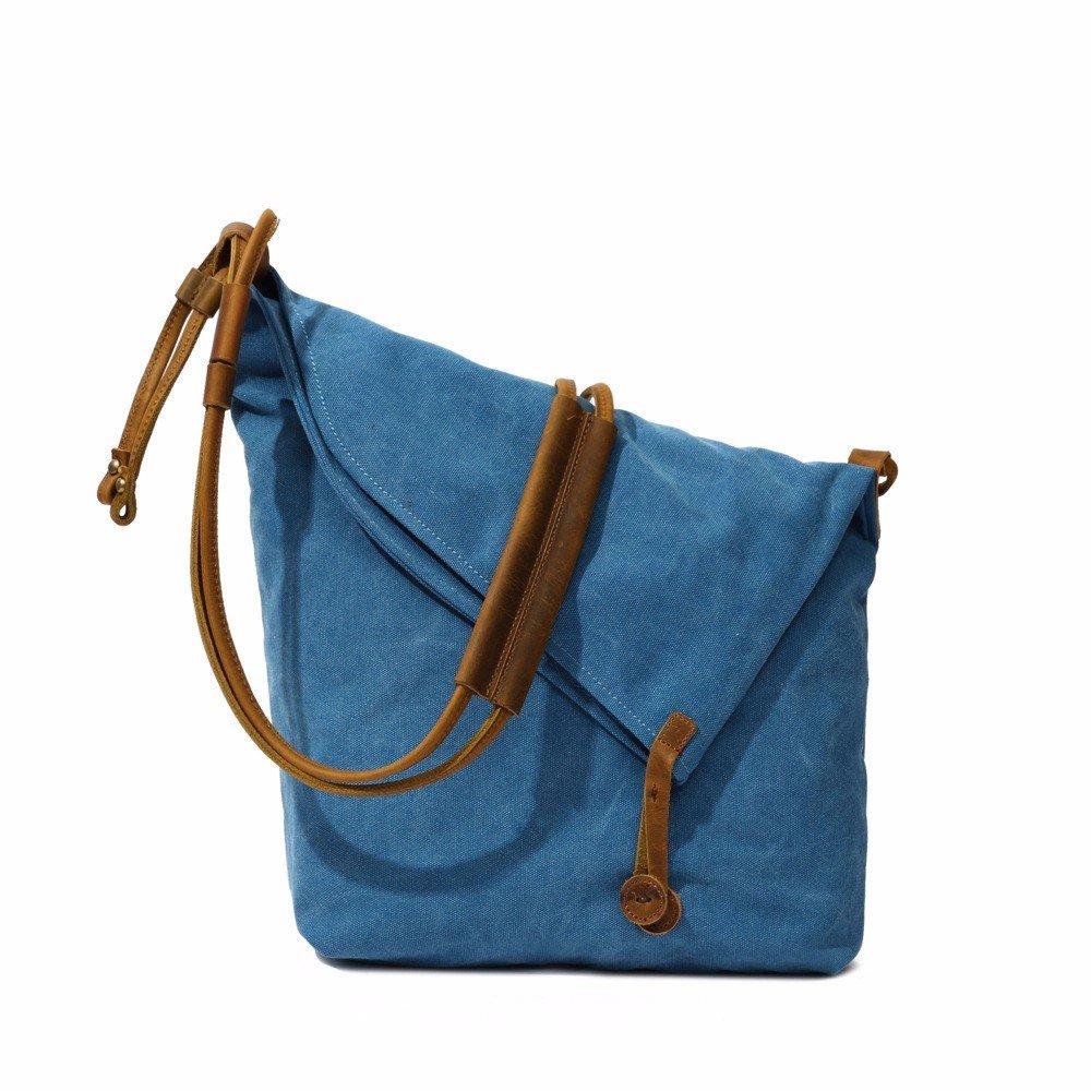 YDIUDIU Canvas Tasche retro literarischen Stoff Schulter diagonale Leinwand mit Leder Tasche für Damen, Royal Blau