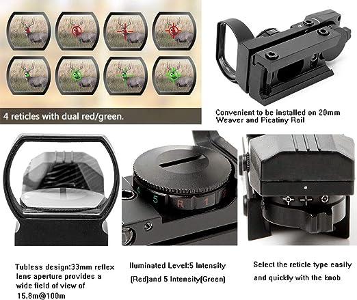 ACEXIER Zielfernrohr 20mm Schiene Holographisches Leuchtpunktvisier 4 Absehen taktisches Zielfernrohr Kollimator Optisches Visier Jagd Airsoft Optics