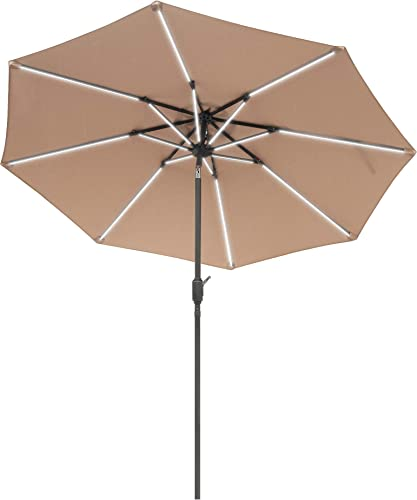 Aok Garden 9 Ft LED Light Bars Patio Outdoor Umbrella Solar Power Market Table Fade-Resistant Umbrella with Push Button Tilt Crank and 8 Sturdy Ribs Coffee Crank, Brown