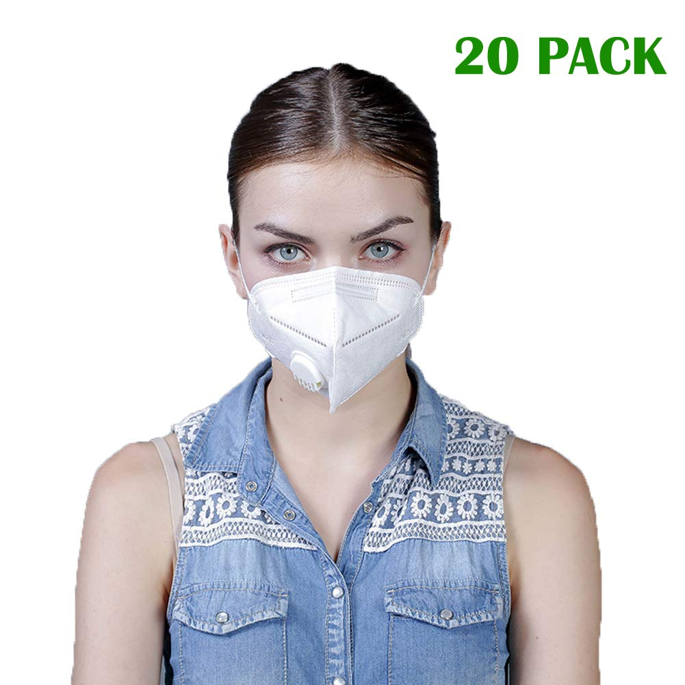 Disposable Dust Masks with Exhalation Valve - NIOSH Certified - Safety N95 Respirator Mask with Nose Clip (20 pack) | Multi-Layer Particulate Respirators for Construction, Home, DIY Projects