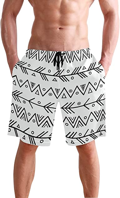 ARR-ow Mens Swim Trunks Summer Quick Dry Board Shorts Elastic Waist Swimwear Bathing Suit with Mesh Lining//Side Pockets