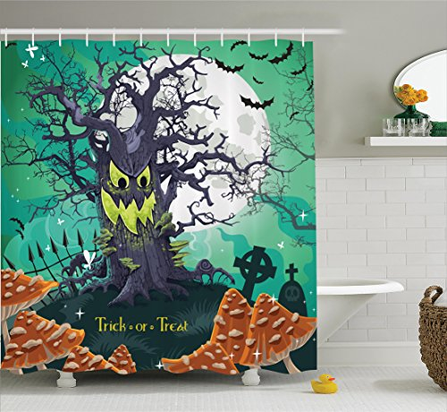 Ambesonne Halloween Shower Curtain, Trick or Treat Halloween Theme Dead Forest with Spooky Tree Graves Big Mushrooms Kids Cartoon, Fabric Bathroom Shower Curtain Set with Hooks, Multi