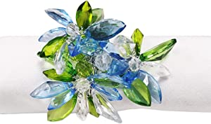 Fennco Styles Unique Multi-Flower Crystal Design Decorative Napkin Rings, Set of 4 – Floral Napkin Holders for Home, Dining Table, Holiday Décor and Special Occasions (Blue Multi)