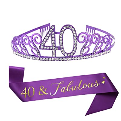 40th Birthday Purple Tiara and Sash, Purple Satin Sash and Crystal Rhinestone Birthday Crown for Happy 40th Birthday Party Supplies Favors Decorations Gifts Cake Topper: Toys & Games