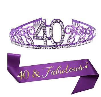Amazon.com: Tiara y fajín de 40 cumpleaños de color morado ...