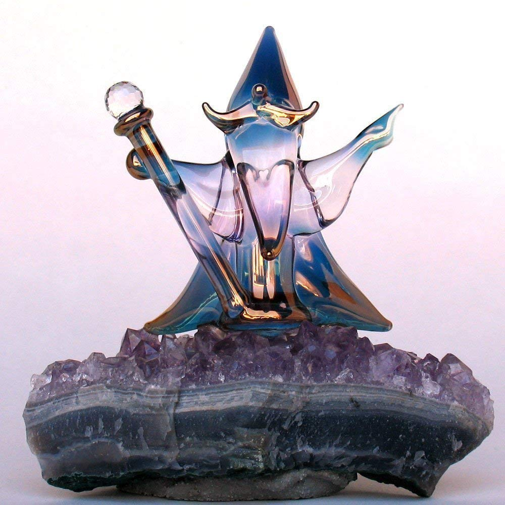 Wizard Sorcerer Figurine of Hand Blown Glass on Amethyst Crystals