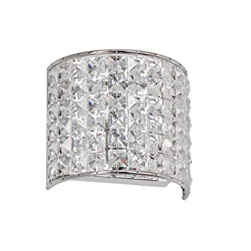 Dainolite Lighting V6771WPC Crystal Bathroom Light, Polished Chrome