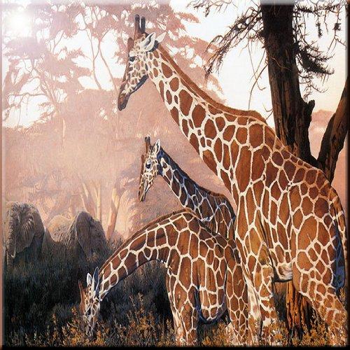 Rikki Knight Three Giraffes on Safari Design Ceramic Art Tile, 6