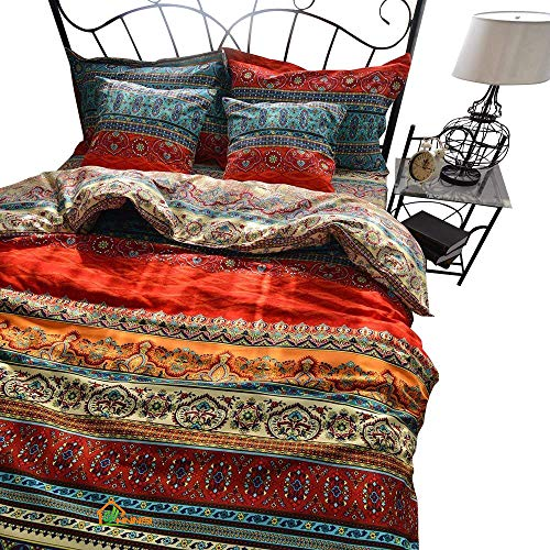 "(HNNSI 100% Brushed Cotton Boho Duvet Cover with 2 Pillow Shams (3 Pieces, Full Size 80"" X 90""),Bohemian Exotic Striped Bedding Sets, Ethnic Vintage Floral Comforter Cover Sets)"