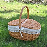 Rurality Wicker Picnic Basket Hamper with Lid and