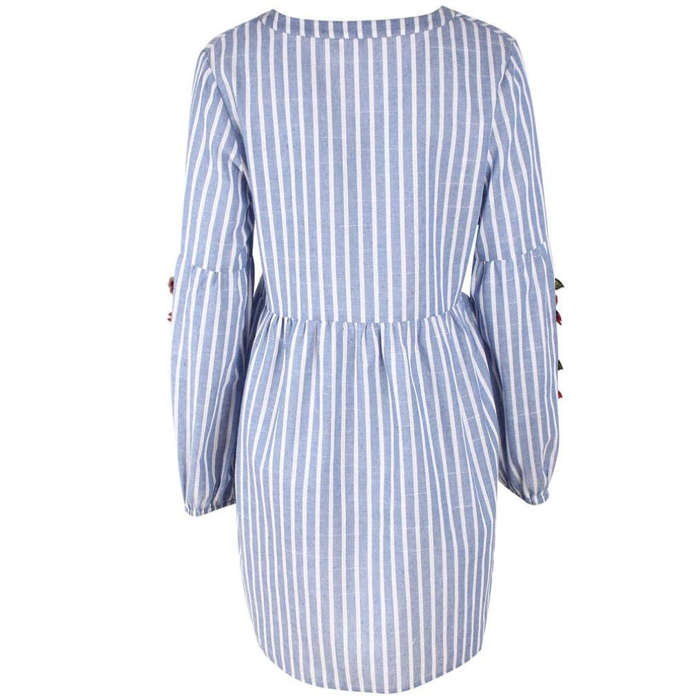 Pandaie Womens Tops Shirts Women V-Neck Embroidery Collage Stripes Drawstring Waist Long-Sleeve Dress