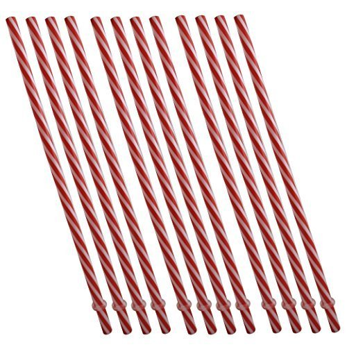 Sunshine Mason Co. Plastic Reusable Drinking Straws 12 Pieces, Red Stripe