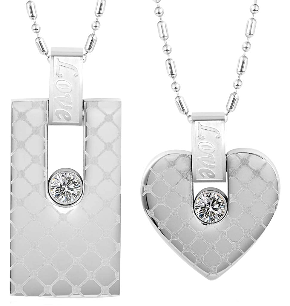 MoAndy Pendant Necklace with Stainless Steel Chain Stainless Steel Necklace Unisex-Adult Pendant Necklace Rectangle Heart Love Engraved Cubic-Zirconia
