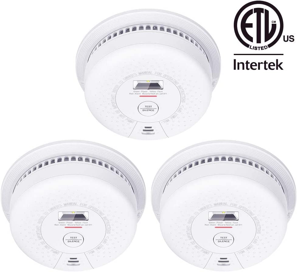 X-Sense SD01 Escape Light Smoke Alarm Detector, 10-Year Lithium Battery Fire Alarm with LED Indicator & Silence Button, Compliant with UL 217 Standard, 3-Pack