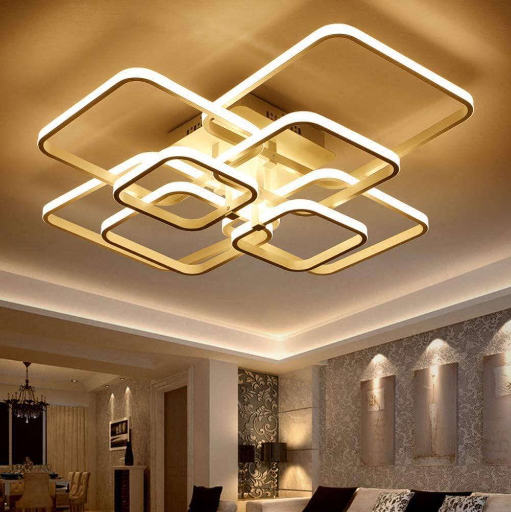 Lámpara LED de techo de 108 W, 3200 lm, regulable, con mando a distancia, 3000 K - 6000 K, moderna lámpara de techo de aluminio para salón, pasillo, estudio, dormitorio, salón, lámpara de diseño