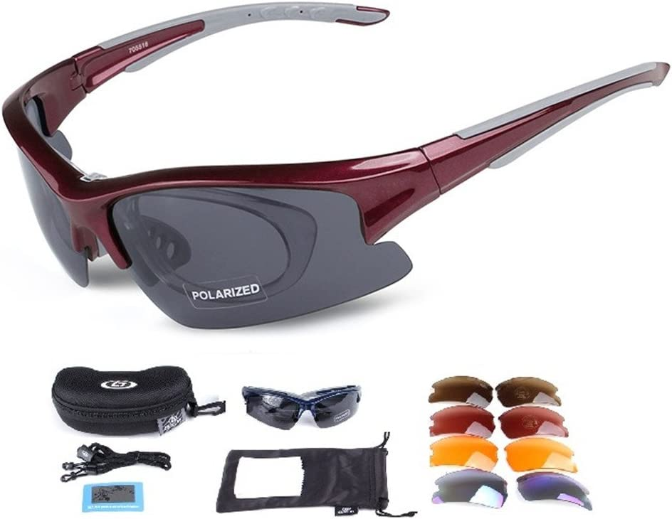 Lorsoul Polarized Sports Sunglasses with 5 Interchangeable Lenses, Tr90 Unbreakable glasses for Men Women Cycling Driving Running MTB Racing Ski Goggles