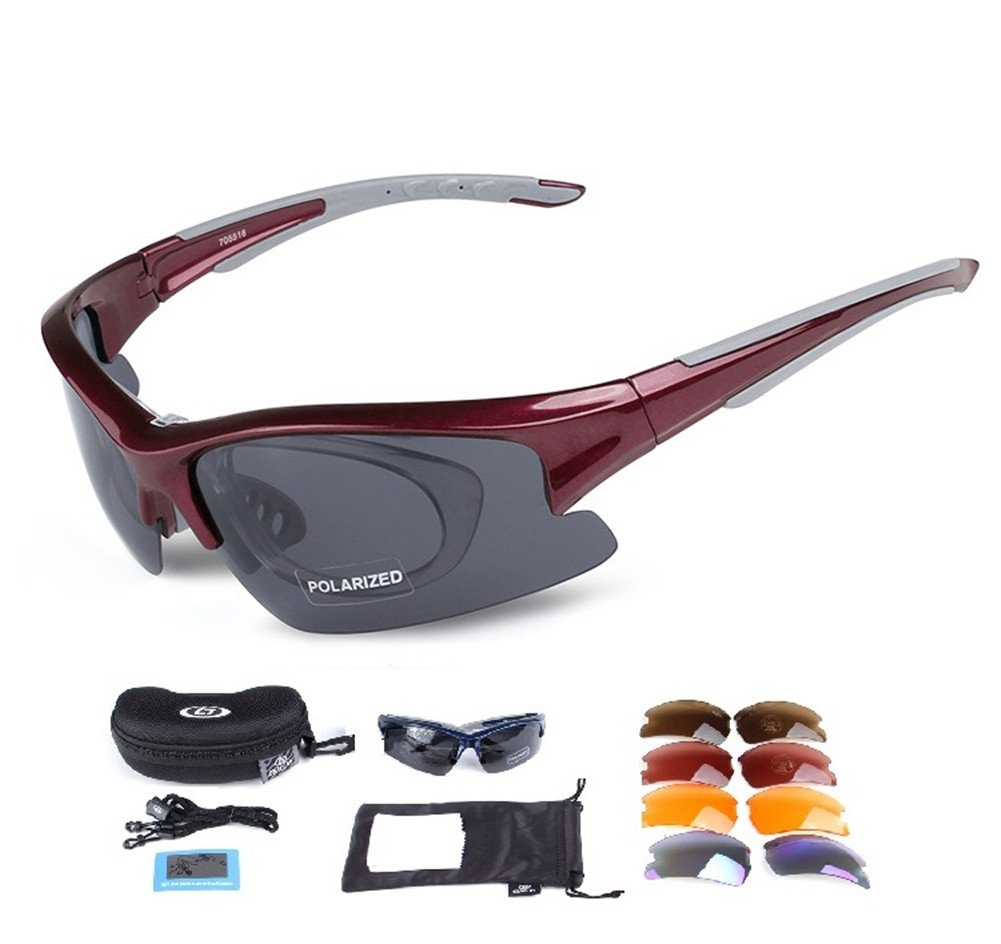 Lorsoul Polarized Sports Sunglasses with 5 Interchangeable Lenses, Tr90 Unbreakable glasses for Men Women Cycling Driving Running MTB Racing Ski Goggles (Red)