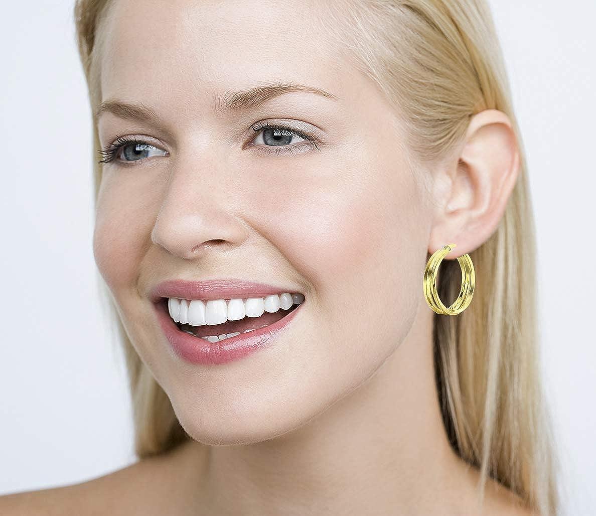 . Yumay Boucles doreilles cr/éoles en or jaune 9 carats avec 3 couches torsad/ées pour femme ou fille 25 mm