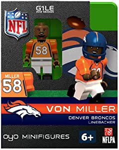 oyo football nfl building brick minifigure von miller denver broncos toys games. Black Bedroom Furniture Sets. Home Design Ideas