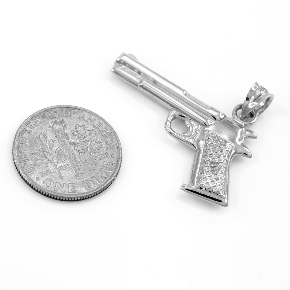 Solid 925 Sterling Silver Pistol Gun Pendant Necklace, 20'' by Men's Fine Jewelry (Image #2)
