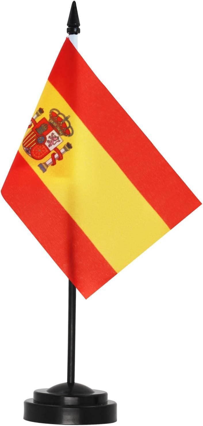 ANLEY Spain Deluxe Desk Flag Set - 6 x 4 Inch Miniature Spanish Desktop Flag with 12